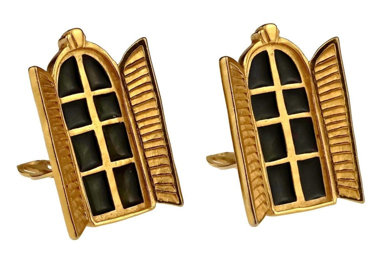 Vintage KARL LAGERFELD French Window Enamel Earrings In Excellent Condition For Sale In Kingersheim, Alsace