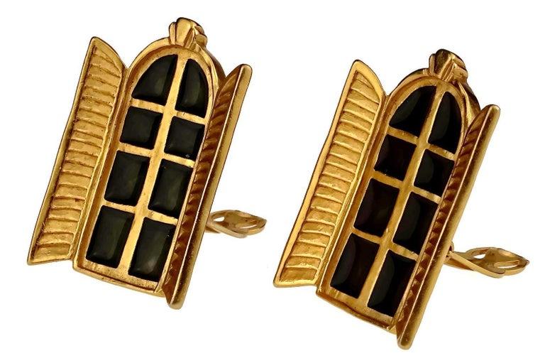 Women's Vintage KARL LAGERFELD French Window Enamel Earrings For Sale