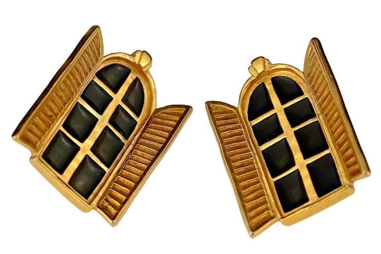 Vintage KARL LAGERFELD French Window Enamel Earrings For Sale 1