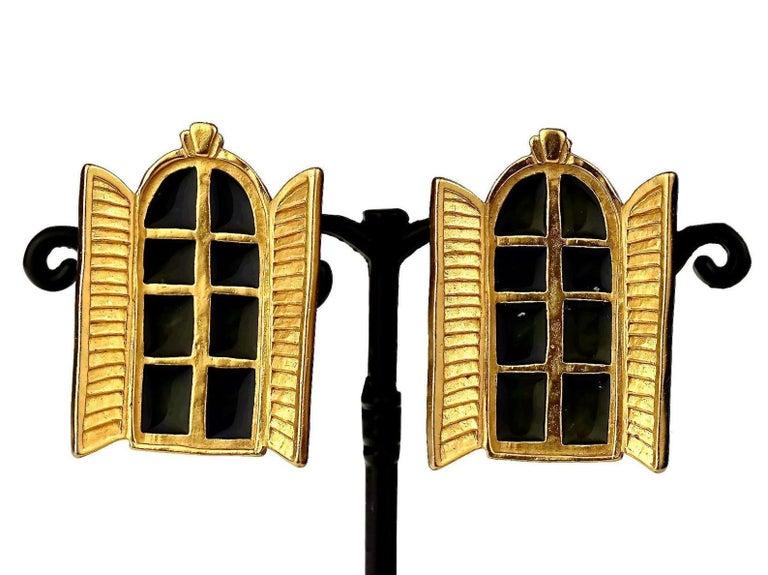 Vintage KARL LAGERFELD French Window Enamel Earrings For Sale 2