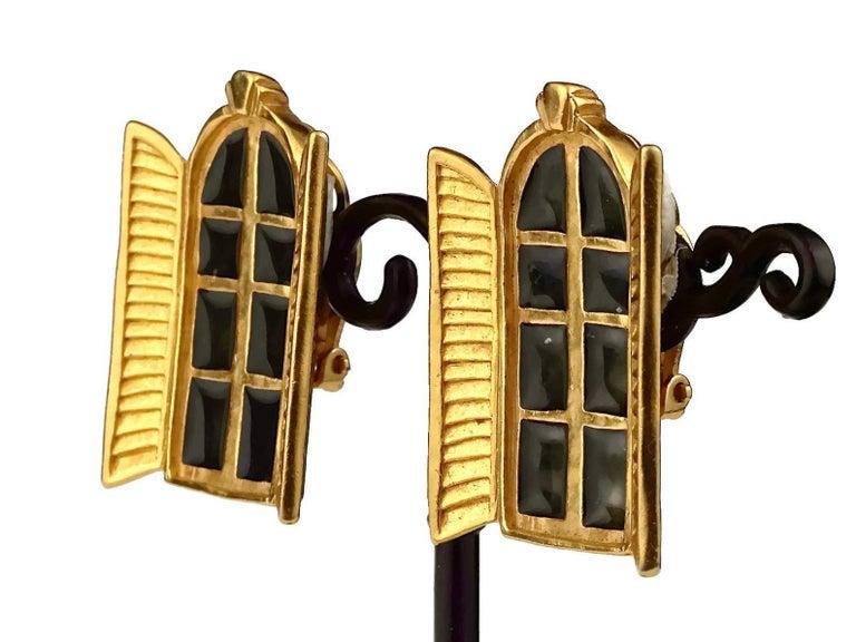 Vintage KARL LAGERFELD French Window Enamel Earrings For Sale 3