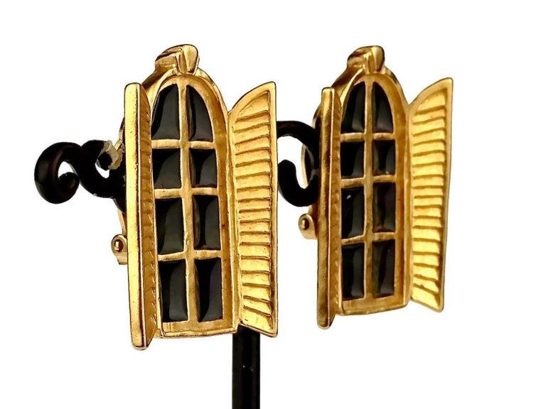Vintage KARL LAGERFELD French Window Enamel Earrings For Sale 4