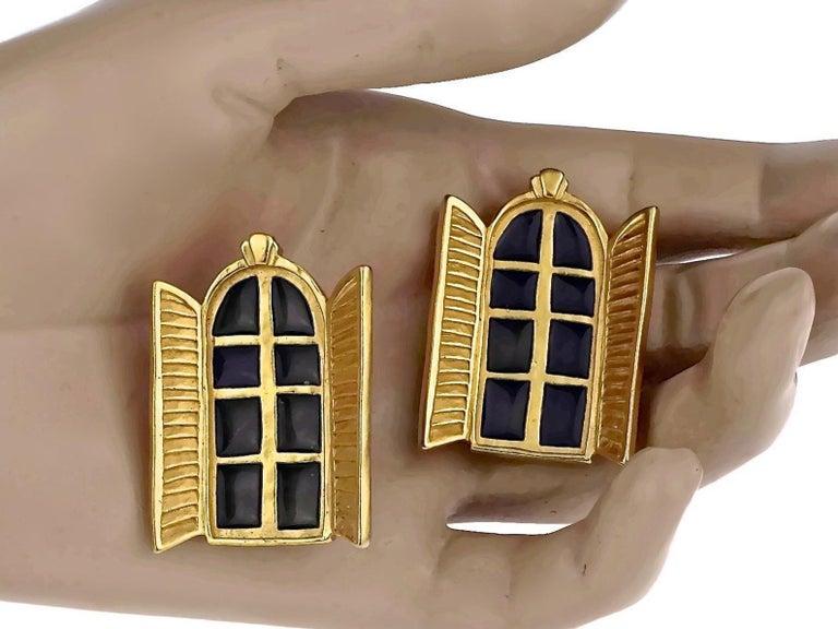 Vintage KARL LAGERFELD French Window Enamel Earrings For Sale 5