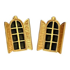 Vintage KARL LAGERFELD French Window Enamel Earrings