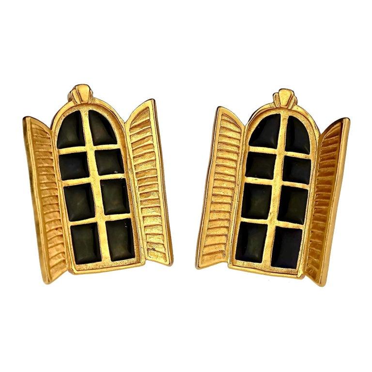 Vintage KARL LAGERFELD French Window Enamel Earrings For Sale