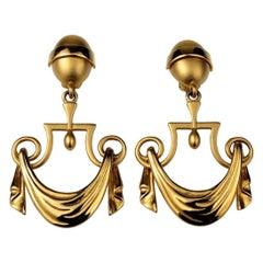 Vintage KARL LAGERFELD Greek Draped Curtain Dangling Earrings