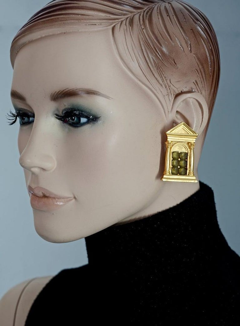 Vintage KARL LAGERFELD Greek Temple Door Earrings  Measurements: Height: 1.85 inches (4.7 cm) Width: 1.14 inches (2.9 cm) Weight per Earring: 20 grams  Features: - 100% KARL LAGERFELD. - Greek temple door motif with faceted glass stones at the