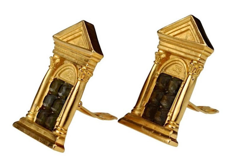 Vintage KARL LAGERFELD Greek Temple Door Earrings In Excellent Condition For Sale In Kingersheim, Alsace