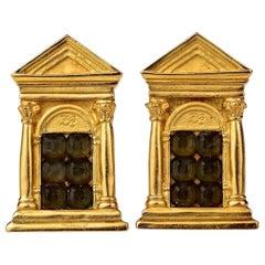 Vintage KARL LAGERFELD Greek Temple Door Earrings