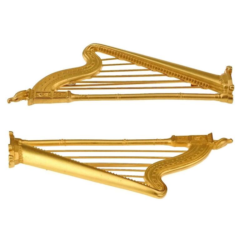 Vintage KARL LAGERFELD Harp Limited Edition Novelty Brooch For Sale 6