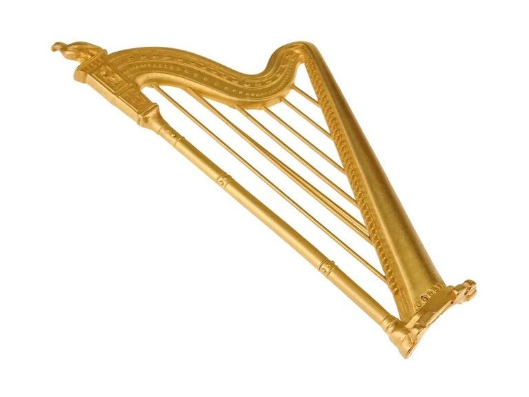 Women's or Men's Vintage KARL LAGERFELD Harp Limited Edition Novelty Brooch For Sale