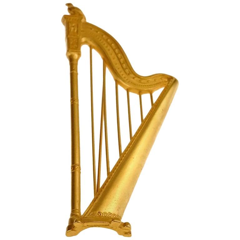 Vintage KARL LAGERFELD Harp Limited Edition Novelty Brooch For Sale