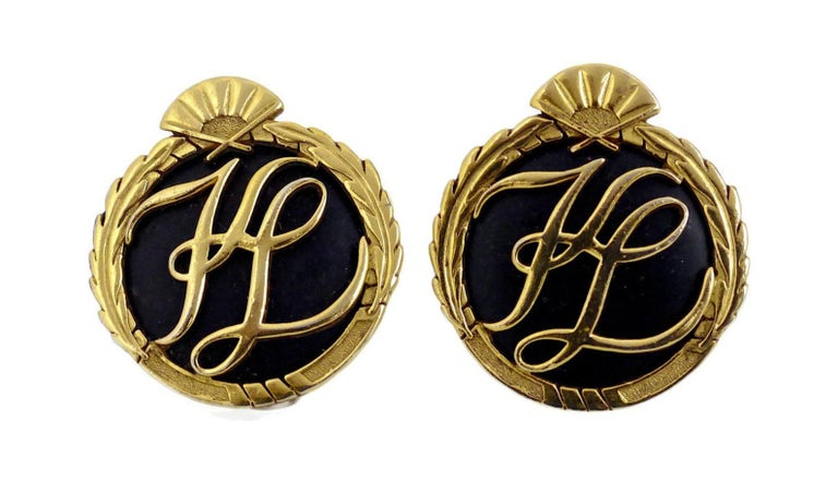 Vintage Karl Lagerfeld Iconic Logo Earrings In Excellent Condition For Sale In Kingersheim, Alsace