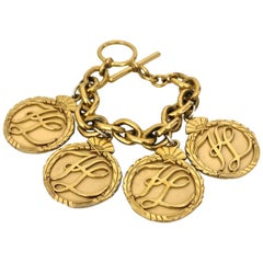 Vintage KARL LAGERFELD Iconic Logo Medallion Bracelet