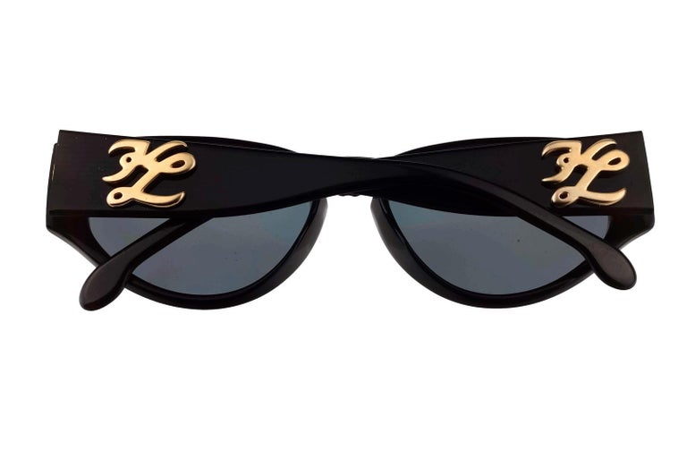 Women's or Men's Vintage KARL LAGERFELD Interchangeable Iconic Charms Emblem Sunglasses For Sale