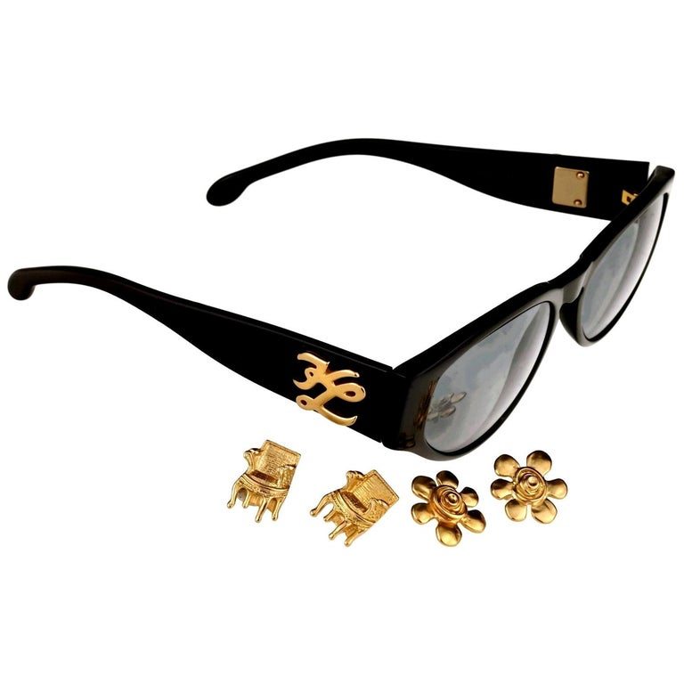 Vintage KARL LAGERFELD Interchangeable Iconic Charms Emblem Sunglasses For Sale