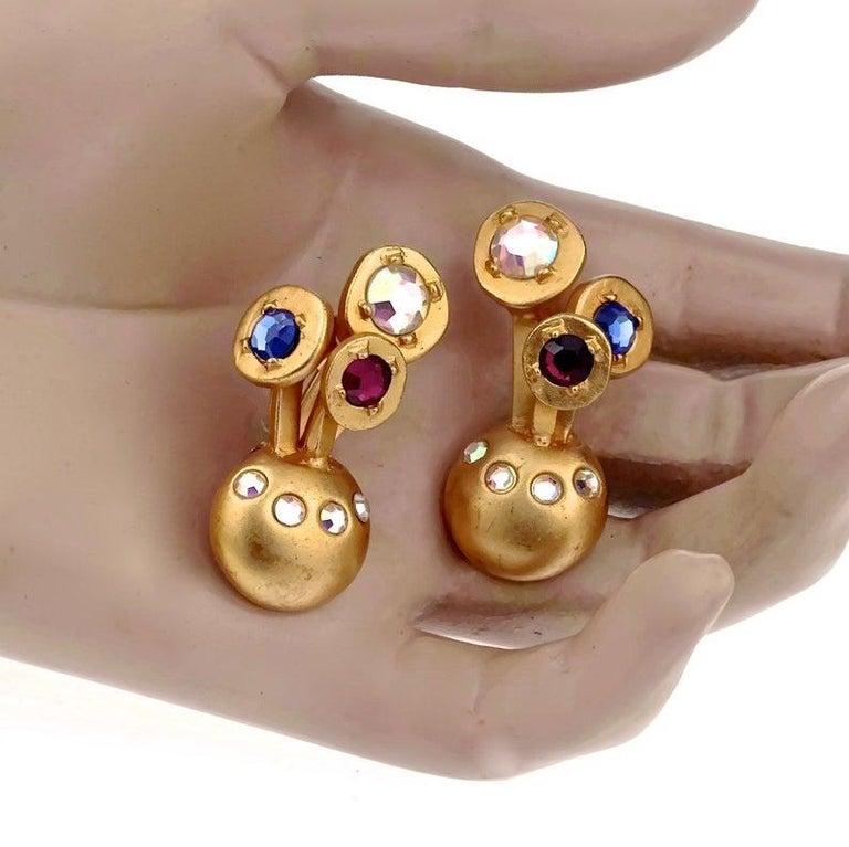 Vintage KARL LAGERFELD Jewelled Spherical Earrings For Sale 6