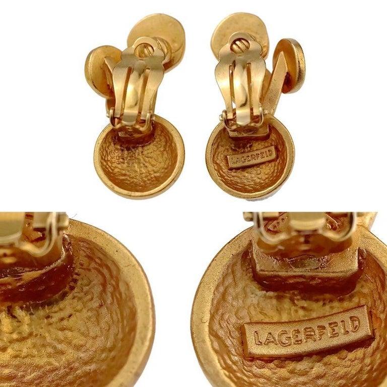Vintage KARL LAGERFELD Jewelled Spherical Earrings For Sale 7