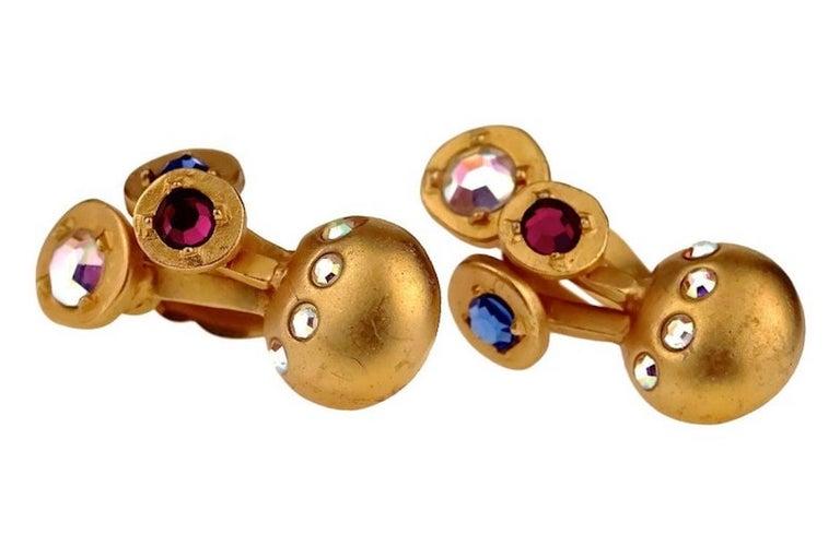 Women's Vintage KARL LAGERFELD Jewelled Spherical Earrings For Sale