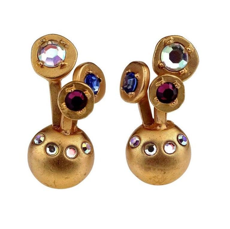 Vintage KARL LAGERFELD Jewelled Spherical Earrings For Sale 1