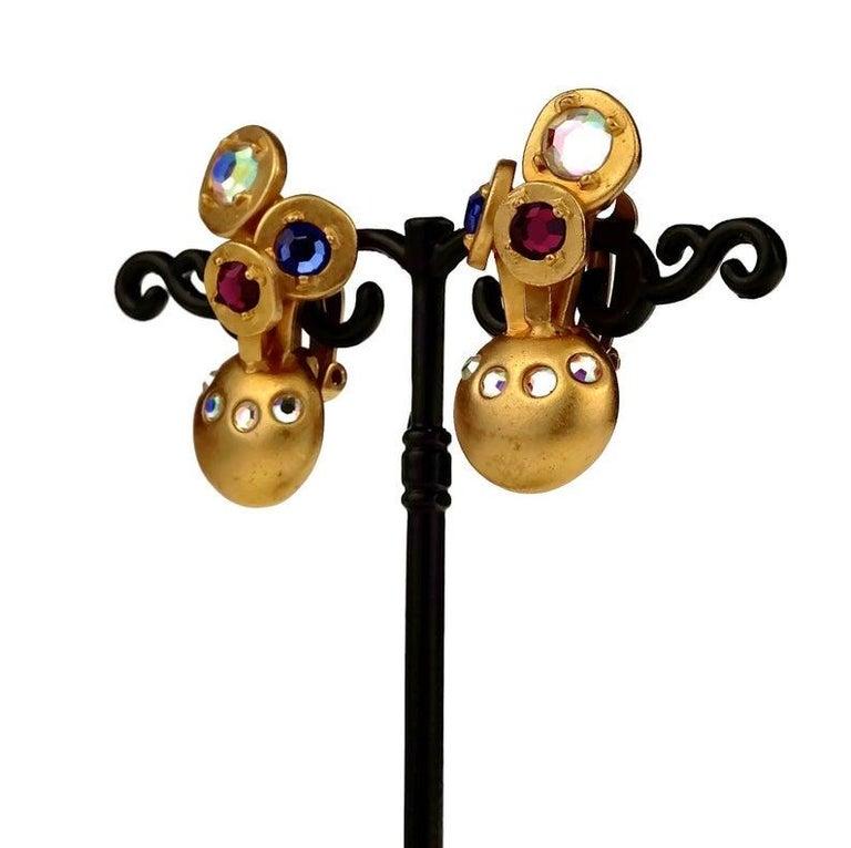 Vintage KARL LAGERFELD Jewelled Spherical Earrings For Sale 2