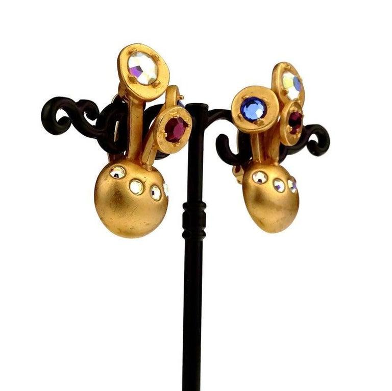 Vintage KARL LAGERFELD Jewelled Spherical Earrings For Sale 3