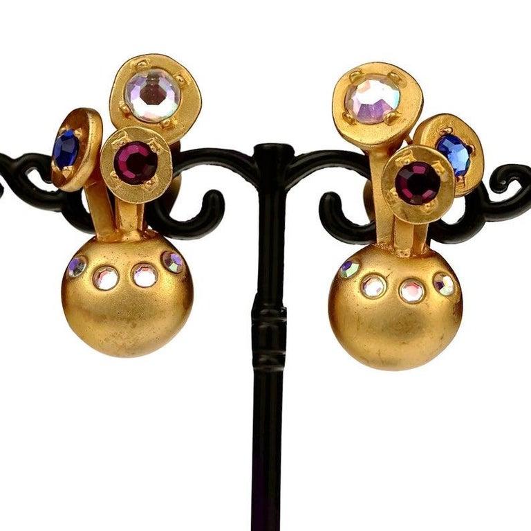Vintage KARL LAGERFELD Jewelled Spherical Earrings For Sale 4