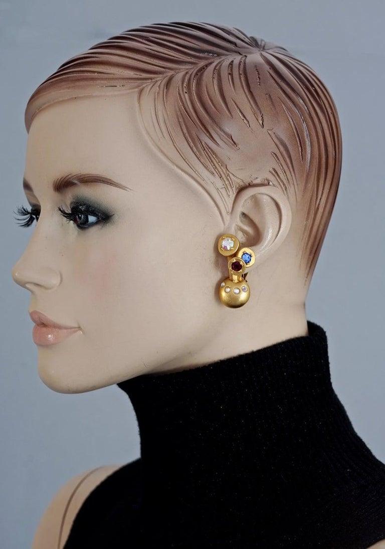 Vintage KARL LAGERFELD Jewelled Spherical Earrings For Sale 5