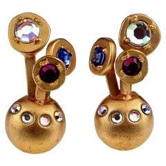Vintage KARL LAGERFELD Jewelled Spherical Earrings