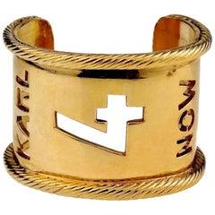 "Vintage KARL LAGERFELD ""Karl 4 Now"" Cutout Cuff Bracelet"