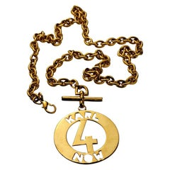 "Vintage KARL LAGERFELD ""Karl 4 Now"" Cutout Medallion Necklace"