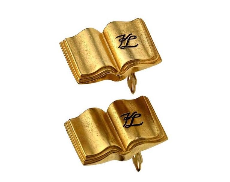 Women's Vintage KARL LAGERFELD KL Logo Book Novelty Earrings For Sale