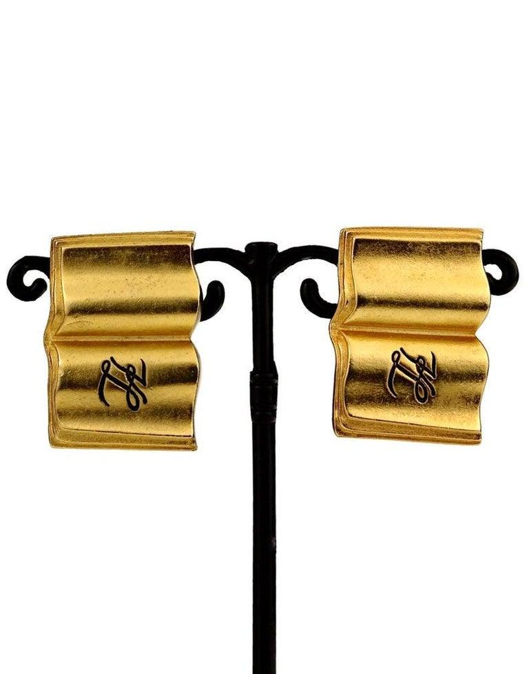 Vintage KARL LAGERFELD KL Logo Book Novelty Earrings For Sale 1