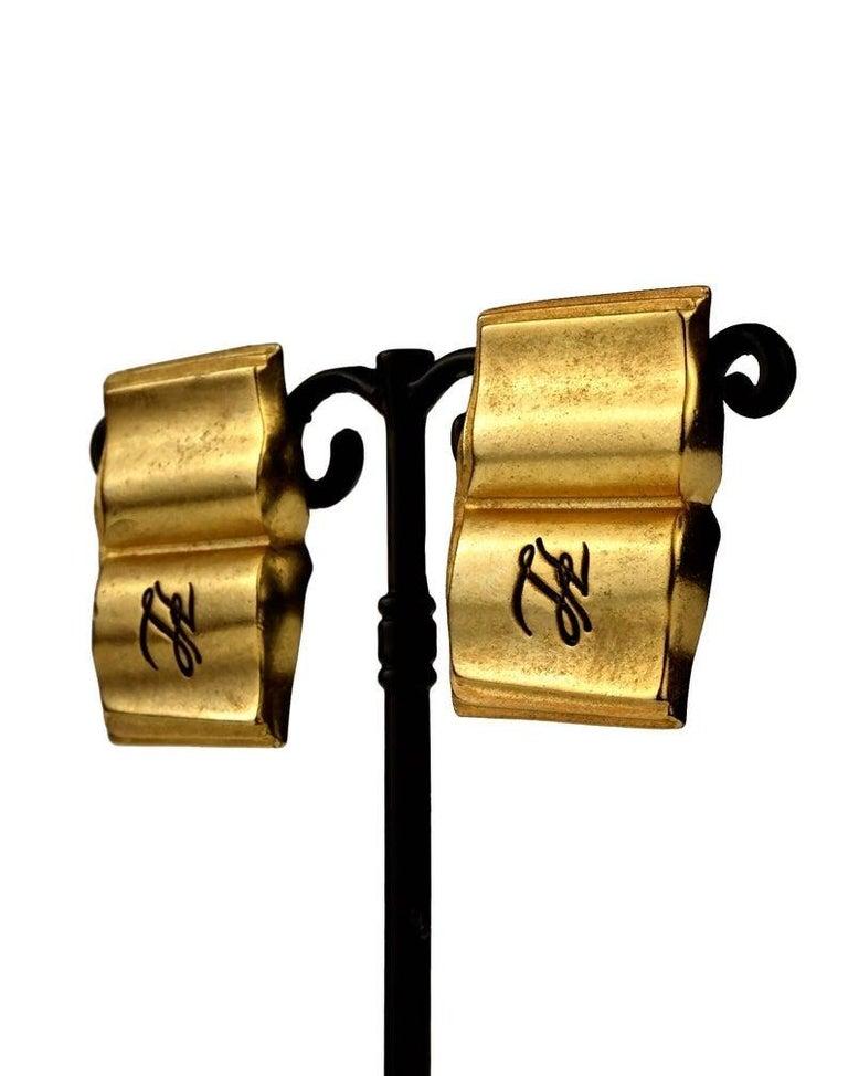 Vintage KARL LAGERFELD KL Logo Book Novelty Earrings For Sale 2