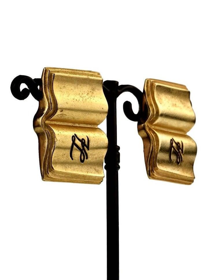 Vintage KARL LAGERFELD KL Logo Book Novelty Earrings For Sale 3