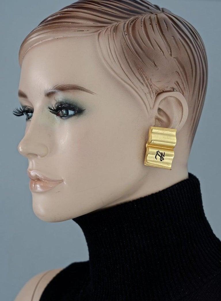 Vintage KARL LAGERFELD KL Logo Book Novelty Earrings For Sale 4