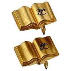 Vintage KARL LAGERFELD KL Logo Book Novelty Earrings