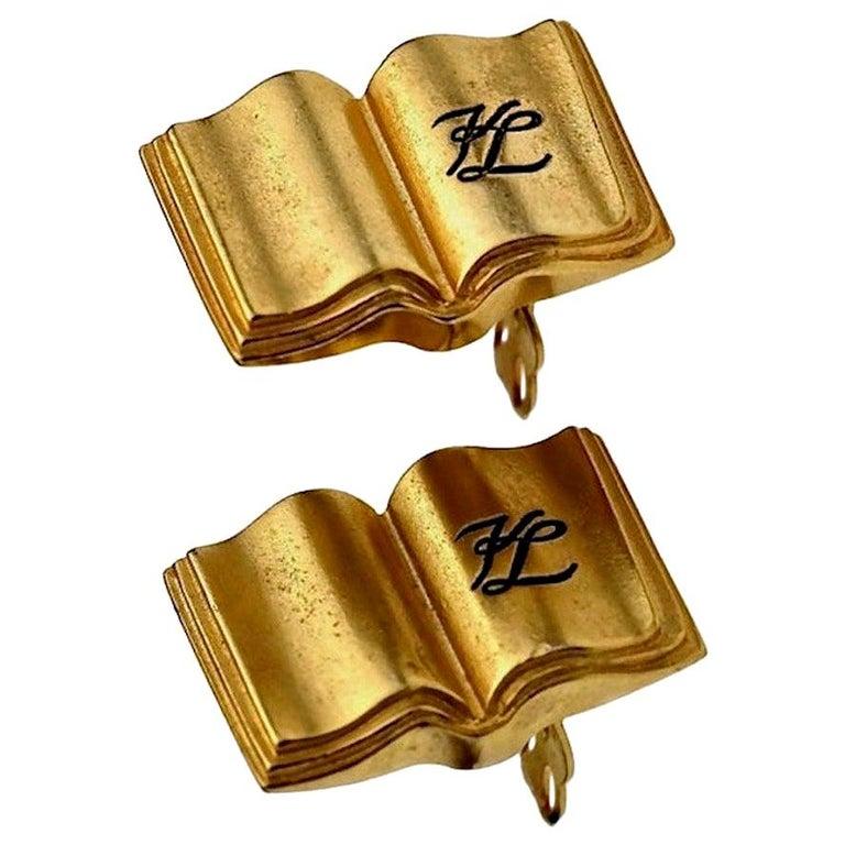 Vintage KARL LAGERFELD KL Logo Book Novelty Earrings For Sale