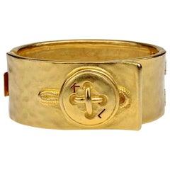 Vintage KARL LAGERFELD KL Logo Button Novelty Cuff Bracelet