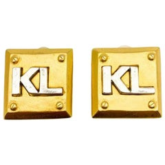 Vintage Karl Lagerfeld Kl Logo Earrings 1980s