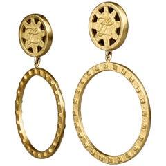 Vintage KARL LAGERFELD KL Logo Hoop Earrings