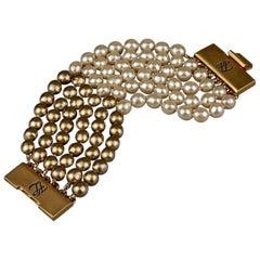 Vintage KARL LAGERFELD KL Logo Multi Strand Two Tone Pearl Cuff Bracelet