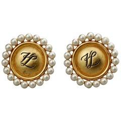 Vintage KARL LAGERFELD KL Logo Pearl Earrings