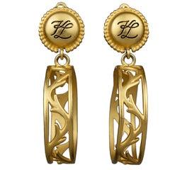 Vintage KARL LAGERFELD KL Logo Vine Hoop Earrings