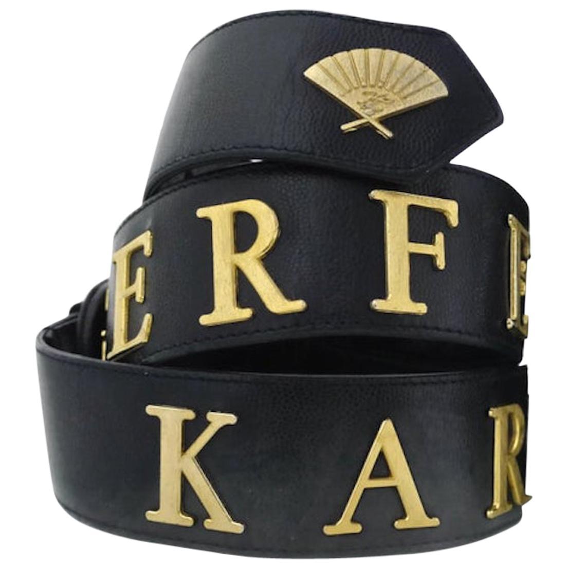 Vintage KARL LAGERFELD Letter Caviar Leather Belt
