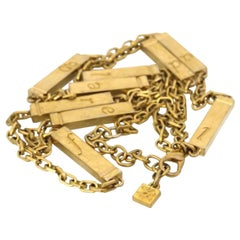 Vintage KARL LAGERFELD Letter Gold Bar Sautoir Necklace