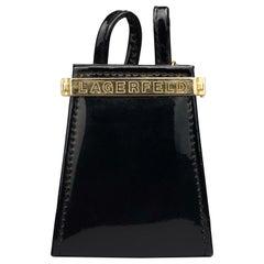 Vintage KARL LAGERFELD Logo Black Patent Coin Purse Mini Belt Bag