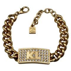 Vintage KARL LAGERFELD Logo ID Name Plate Chain Bracelet