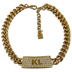 Vintage KARL LAGERFELD Logo ID Name Plate Choker Necklace