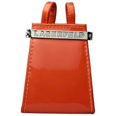Vintage KARL LAGERFELD Logo Orange Patent Coin Purse Mini Belt Bag